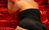 Aziani Sexy Blonde Boobqueen Julie In Her Satin Black Dress And Come-Fuck-Me High Heels
