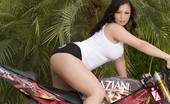 Aziani 139971 Brunette Hottie, Aria Giovanni, Mounts The Aziani Motorcycle And Puts On A Sexy Striptease Showing Off Her Amazing Curves And Big Beautiful Boobs!
