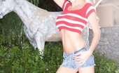 "Aziani Buxom Blonde Puma Swede Strips Out Of Her ""Daisy Dukes"" And Shows Off Her Pretty Pink Pussy."