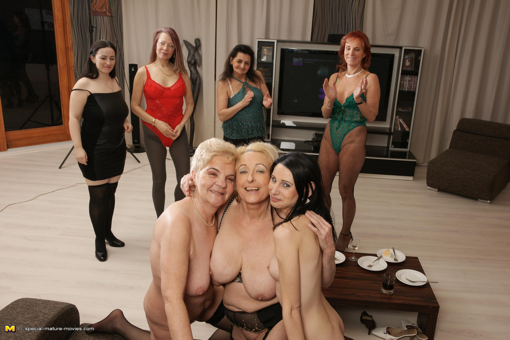 Lesbian Group Party Orgy
