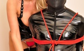 Lucy Zara Wearing A Tiny Red Thong And Having Some Rope Play With A Gimp