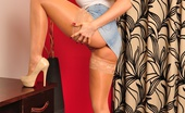 Lucy Zara Loves Her Tight Short Skirts, So When She Had This New Pair Of Tiny Denim Ones Sent To Her, She Just Had To Do A Naughty Teasing Set Wearing Them