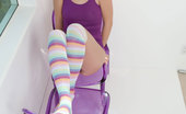 Ron Harris Kasey Chase Bubbly Delila Darling In Her Purple Tops And Rainbow Socks Spreading Her Sweet, Wet Cherries On The Chair