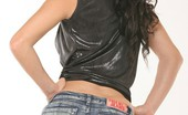 Fuck My Jeans Agostina Bell Black Haired Babe Posing And Teasing In Curve Hugging Denim Blue Jeans