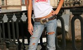Fuck My Jeans Natasha Babich Slim Brunette In Ripped Up Blue Jeans That Hugs Her Curves Posing