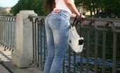 Fuck My Jeans Cosette Ibarra Sexy Chick With Long Black Hair Posing Outdoors In Skin Tight Jeans