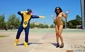 """Cum Louder Sasha Jones XXX Parody: """"Cyclops"""" Cycocks, Founding Member Of The Superhero Team Known As The X-Penis, Was Born With The Ability To Shoot Squirts Of Light Through His Eyes And His Cock. With These Powers He Is Able To Undress Girls Burning Their Clothes With His Eyes"""