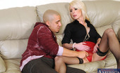 My Friend's Hot Mom Jodie Stacks Hot Blonde MILF Jodie Stacks Kicks One Guy Out And Makes The Other Guy Fuck Her On The Couch After A Massage.