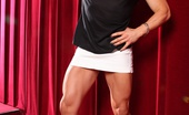 Aziani Iron Ripped Vixen Ripped Vixen Is A Muscle Goddess! She Loves Getting Dolled Up In Super Short Skirts And High Heels, They Show Off Her Beautiful Cut Quads, Hamstrings And Calves.