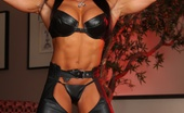 Aziani Iron Angela Salvagno Bodybuilder Angela Salvagno Shows Off Her Sexy Leather Outfit And Strong Hot Muscles.