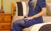 Only Opaques Michelle Moist Kinky Blonde Teases Her Way Out Of Her Cute Blue Summer Dress And Flashes Her White Lingerie.