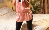 Only Opaques Kristina Raven Haired Stunner Teases Her Way Out Of Her Slinky Pink Lingerie And Black Opaque Pantyhose
