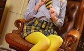 Only Opaques Porchia W Beautiful Blonde In Yellow Pantyhose And College Uniform