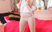 Only Opaques Natalie Grant Naughty College Girl Slowly Undresses To Tease In Her White Panties And Pantyhose.