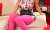 Only Opaques Chloe S Chloe S In Bright Pink Pantyhose A Sexy Silky Top And Leather Miniskirt.