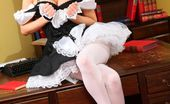 Only Opaques Georgina D Kinky French Maid Slowly Teases Her Way Out Of Her Minidress To Pose In Her Pantyhos And Heels.