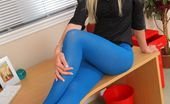Only Opaques Natalie Grant Stunning Leggy Blonde Loves To Tease Her Work Colleagues By Posing In Her Office.