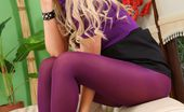 Only Secretaries Faye X Faye X Teases Her Way Out Of Her Tight Top And Black Miniskirt And Reveals Her Gorgeous Body In Purple Lingerie And Pantyhose.
