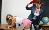 Bad Tushy Teacher Paddles Brunette At School