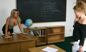 Bad Tushy Blonde Gets Caned By Her Busty Teacher