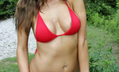 London Hart Tiny Red Bikini Wearing A Tiny Red Bikini