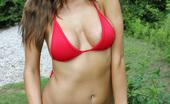 London Hart Tiny Red Bikini Wearing A Tiny Red Bikini