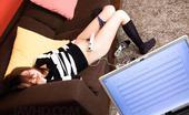 JAV HD Rino Mizusawa Japanese Babe Rino Mizusawa In Glasses Toying Her Pussy