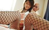 JAV HD Arisa Aoyama Arisa Aoyama Asian In Fishnets Has Hairy Fish Taco Full Of Cum