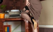 Vintage Flash Tina Kay Tina'S In Her Home Office Wearing Open Bottom Girdle And Vintage Nylons!