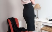Vintage Flash Bianca Leggy Bianca Offering Some RHT Fun And Games In Feminine Blouse And Pencil Skirt!