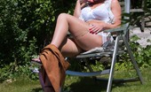 Vintage Flash Ashleigh Embers A Peeping Tom Is Spying On Ashleigh Sunning Herself In The Garden!