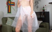 Vintage Flash Michelle Moist Blonde, Michelle In Full Skirted Dress And Vintage Nude Nylons!