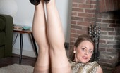 Vintage Flash Tricia West Mature Tricia Down On The Rug In Her Gotham Gold Stripe RHTs And Peep Toe Stilettos!