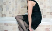 Vintage Flash Tanya Cox Tanya In The Bath In Black Slip, Sheer Panties And RHT Nylons!