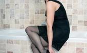Vintage Flash Tanya Cox Tanya In The Bath In Black Slip, Sheer Panties And RHT Nylons!