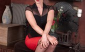 Vintage Flash Holly Naughty, Red Head Holly In Black Satin Corset And Sheer Red Panties!
