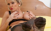 Vintage Flash Lucy Zara Lucy Zara Strips From Black Underwear Showing Off Her RHT Nylons