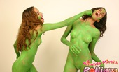 Polliana Polliana And Amanda Having Fun Totally Naked, Only Painted Green.
