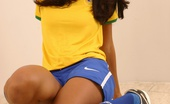 Polliana Polliana Practices Her Game As She Strips Out Of Her Brazilian Soccer Team Uniform.