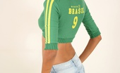 Polliana Polliana Representing Her Native Country, In A Tight Number 9 (Ronaldo) Soccer Sweater. Go Brazil!