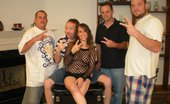 Tampa Bukkake Wild Brunette Melinda Having Her First Gang Bang Party