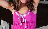 Taylor Lain Looks All Innocent As She Slides Out Of Her Pink Dress