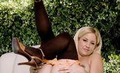 Art-Lingerie Lia Lia Poses In A Cute Orange Lingerie Set And Black Hold Up Stockings. (Non Nude)