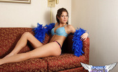 Spunky Angels Erin 189418 Erin In A Blue Lace Bra And A Blue Boa Erinlotsofcolornn