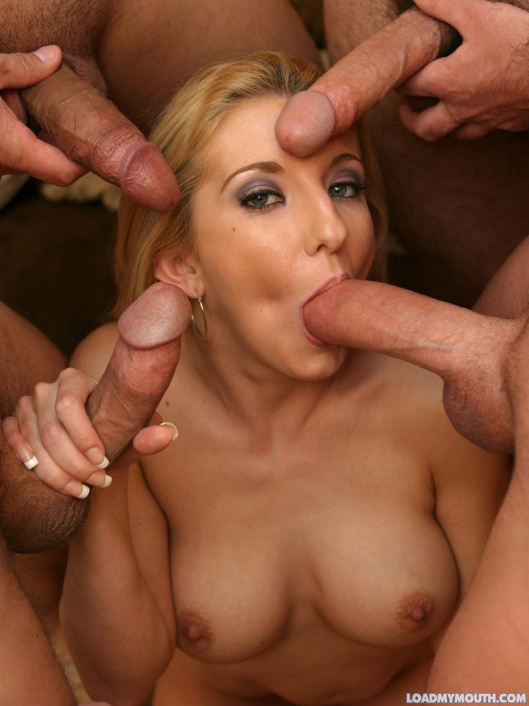 Blondes sucking multiple cocks