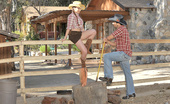 Hot Bush Check Out Horny Cow Girl Get Her Ass Pounded Hard Against The Rodeo Fence In These Hot Big Bush And Anal Fucking Pics