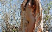 Hippie Goddess Mature, Curvy Brunette With Full Bush And Thick Pit Hair Strips Outdoors.