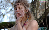 Hippie Goddess Natural And Hairy. Beautiful Tattooed Hippie Poses Nude Outdoors.