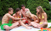 Sabrina Blond Group Of 5 Teens Playing Sex Games & Fucking Outdoors