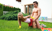 Sabrina Blond Sabrina Gets Her Small Body Fucked In The House Patio